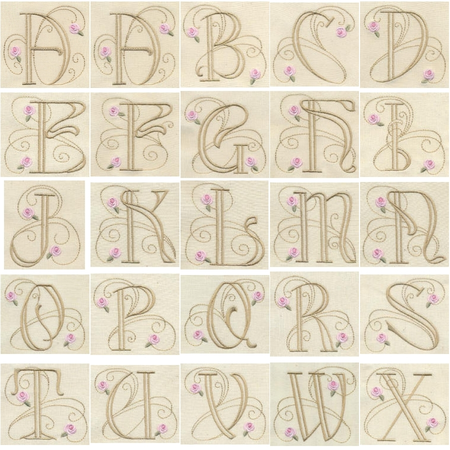 Bullion Rose Quilt Monograms