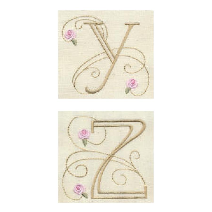 Bullion Rose Quilt Monograms
