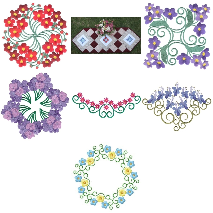 Aljay Mini Set 15 Little Flowers with Quilted Table Runner