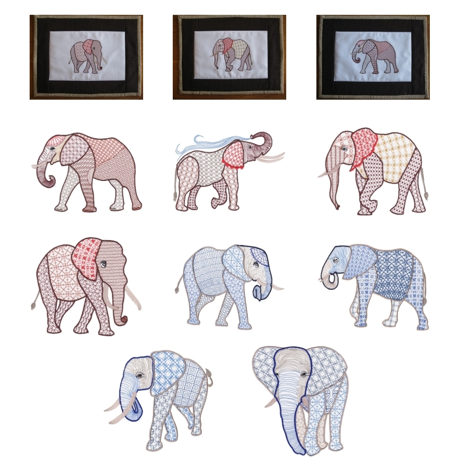 Fanciful Elephants Set 1 Large