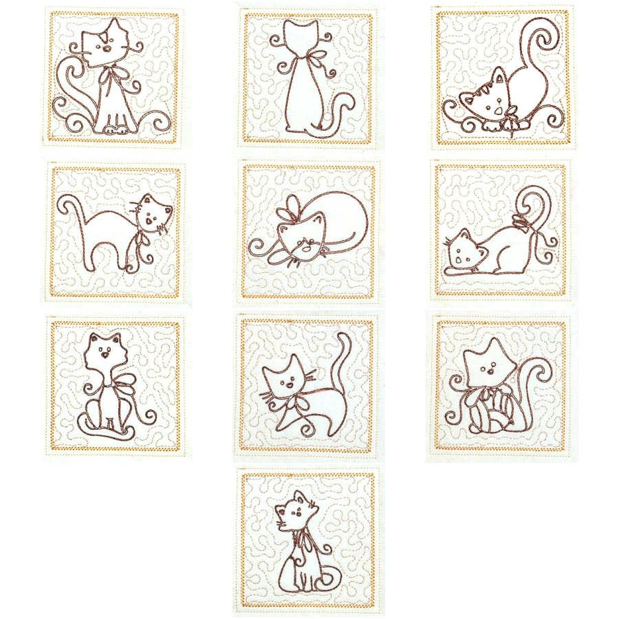 Trapunto Cats 4x4