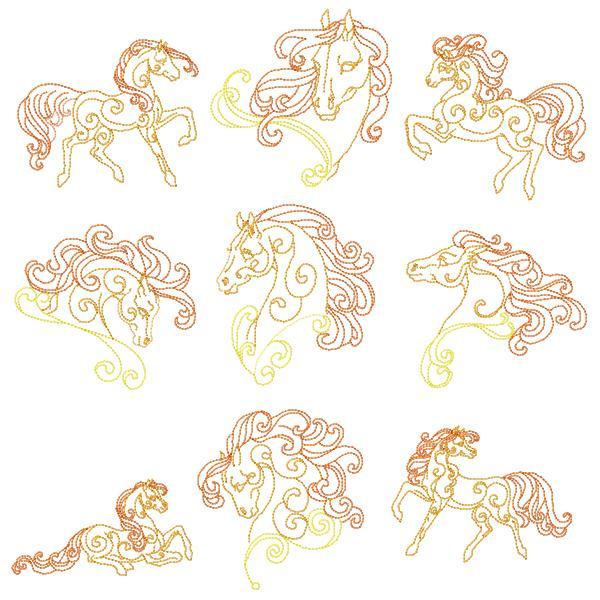 Golden Horses Set - 8x8-3