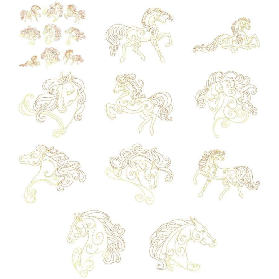 Golden Horses Set - 8x8