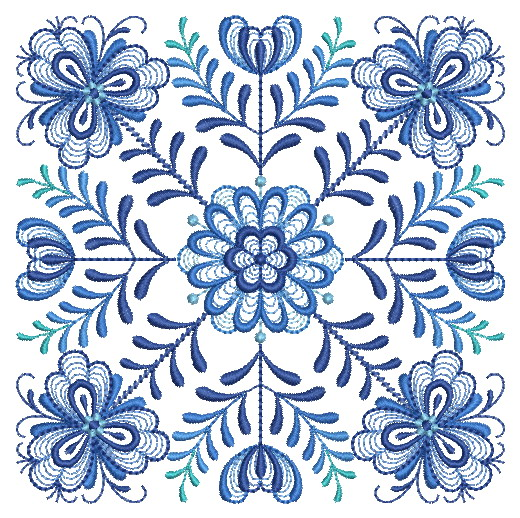 Delft Blue Quilt Block-13