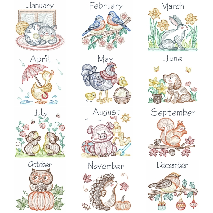 Months of the Year Animals
