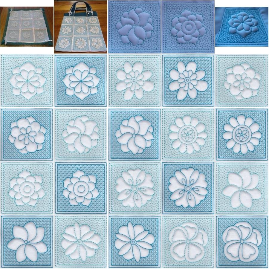 Trapunto Flower Blocks