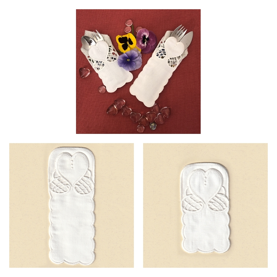 COTTON HEART LACE AND CUTWORK SET4