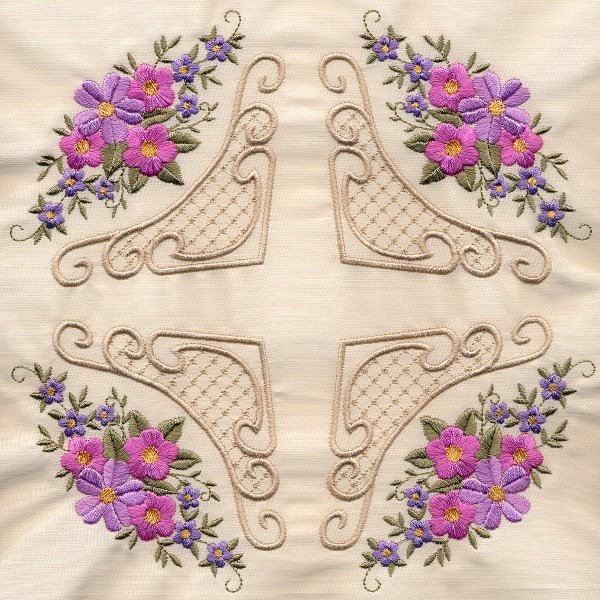 8x8 Floral Corner Quilt 4-3