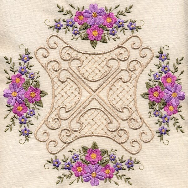 8x8 Floral Corner Quilt 4-7