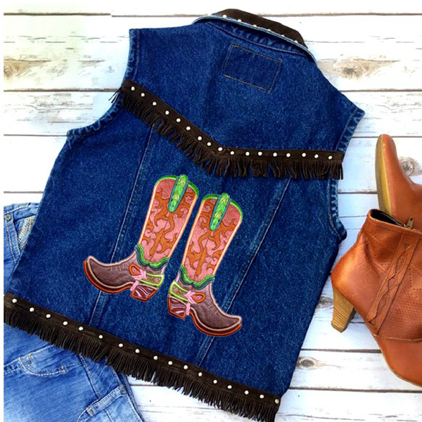 Cascading Swirls Cowboy Boot -5