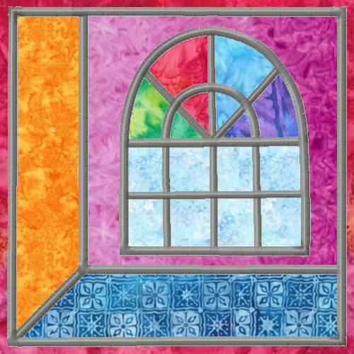 Attic Windows Applique Quilt Blocks 3 Sizes-8