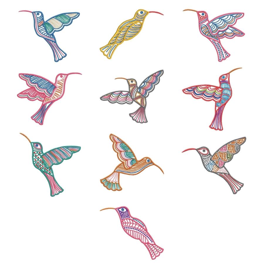 Satin Colorwork Hummingbirds