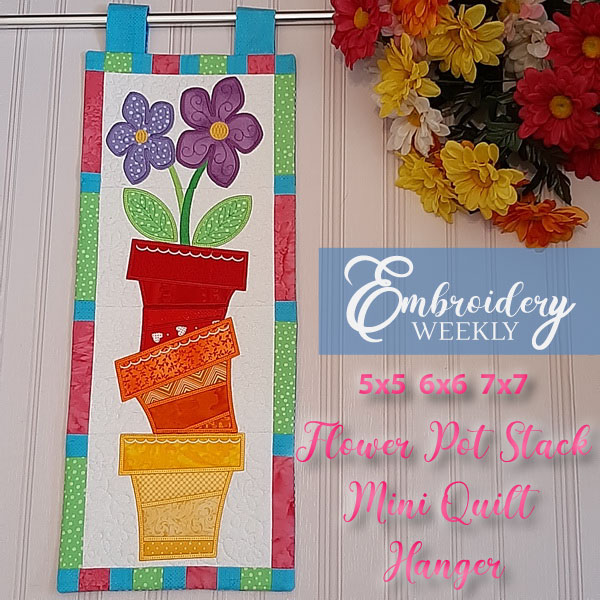 Flower Pot Stack Mini Quilt-3