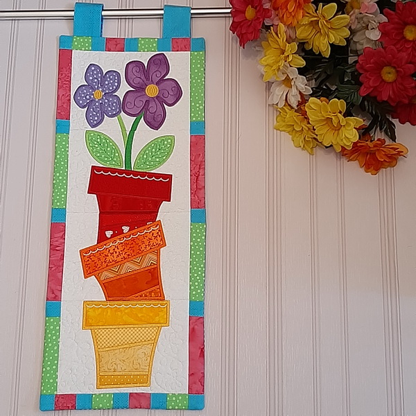 Flower Pot Stack Mini Quilt-4