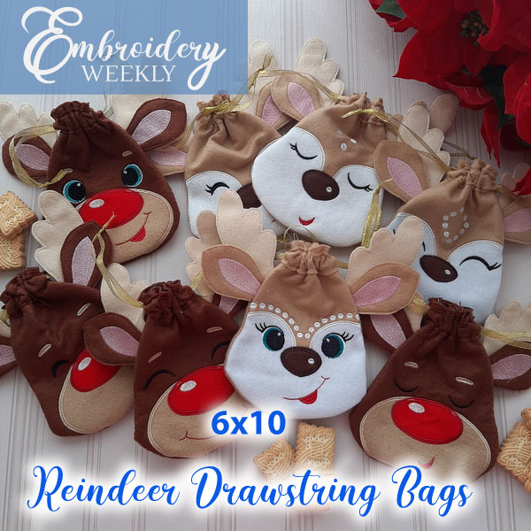 Reindeer Drawstring Bags-3