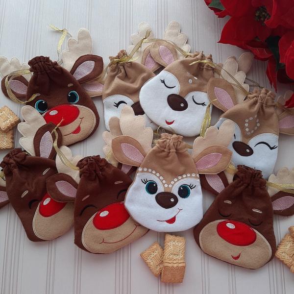Reindeer Drawstring Bags-4