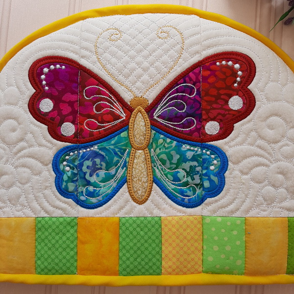 IHQ Butterfly Tea-cosy and Trivet, quilted tea-cosy and trivet embroidery project