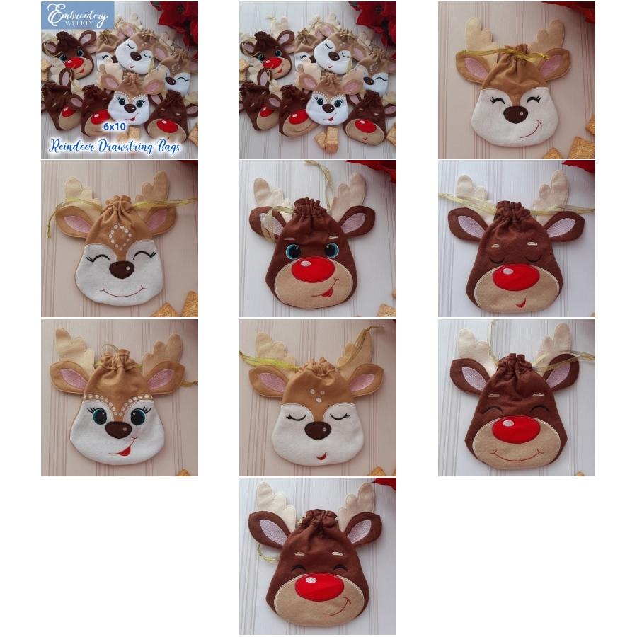 Reindeer Drawstring Bags