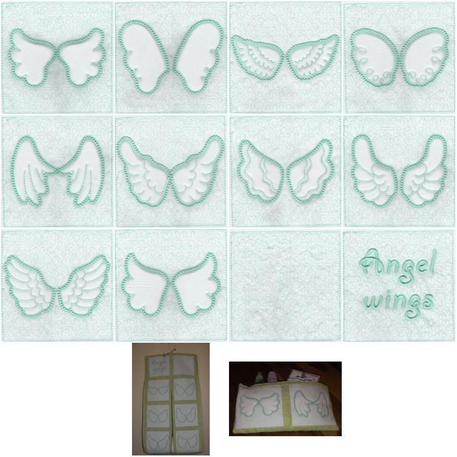 Angel Wings Trapunto Quilt Blocks