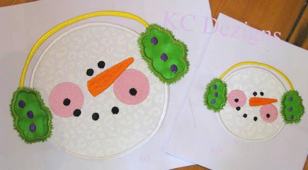 Snowman Face With Green Ear Muffs