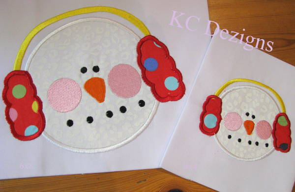 Snowman Face With Red Ear Muffs