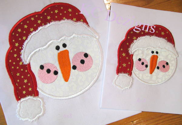 Snowman Face With Red Santa Hat