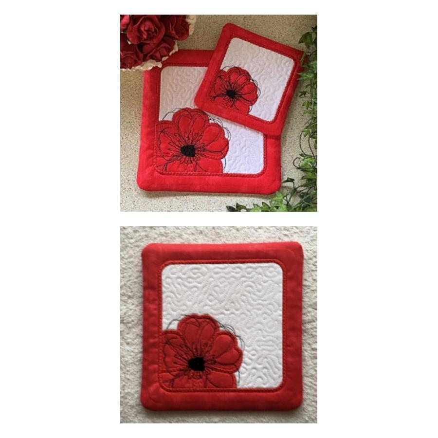 Poppy Coasters | OregonPatchWorks