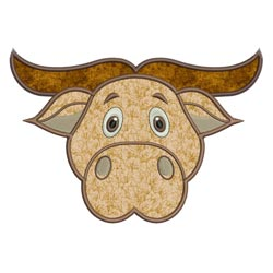 Applique Animal Faces Buffalo
