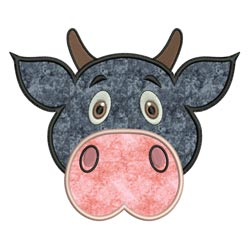 Applique Animal Faces Cow