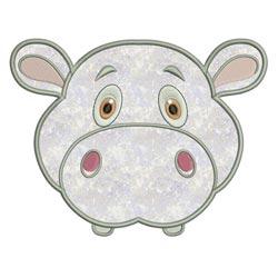 Applique Animal Faces Hippo