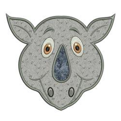Applique Animal Faces Rhino