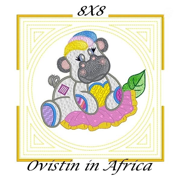 Applique Echo Baby Hippos Quilt Blocks 8x8-4