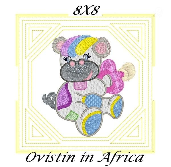 Applique Echo Baby Hippos Quilt Blocks 8x8-5