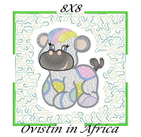 Applique Echo Baby Hippos Quilt Blocks 8x8-8