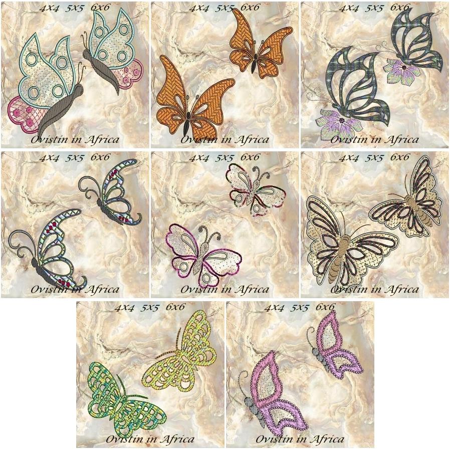 Cutwork Butterflies 4x4 5x5 6x6