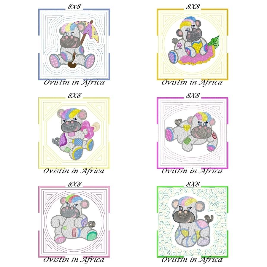 Applique Echo Baby Hippos Quilt Blocks 8x8