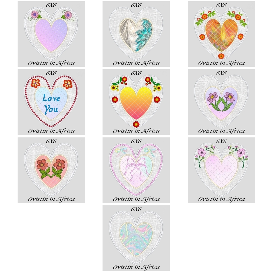 FSL Applique Heart Coasters 6x6