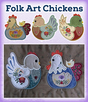 Folk Art Chickens