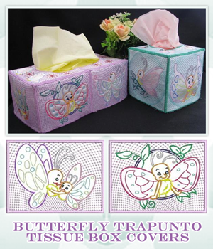 Butterfly Trapunto Tissue Box Covers
