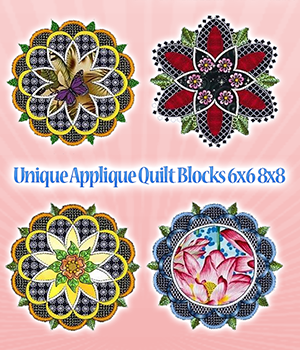 Unique Applique Quilt Blocks 6x6 8x8