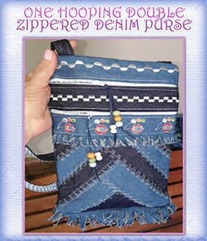 One Hooping Double Zippered Denim Purse