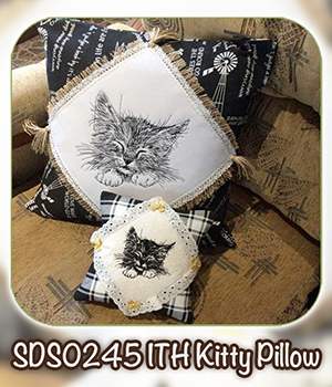 SDS0245 ITH Kitty Pillow