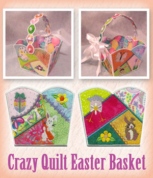 Crazy Quilt Easter Basket