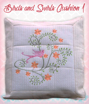 Birds and Swirls Cushion 1