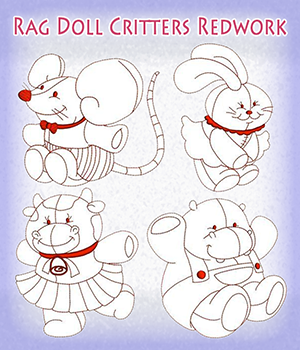 Rag Doll Critters Redwork