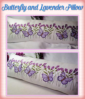Butterfly and Lavender Pillow