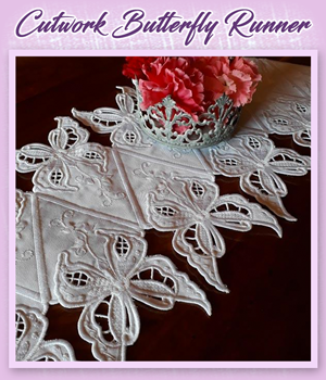 Cutwork Butterfly Runner