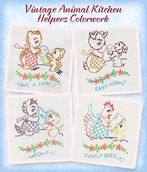 Vintage Animal Kitchen Helpers Colorwork