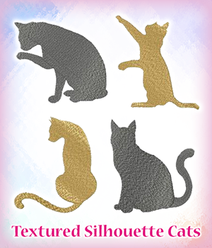 Textured Silhouette Cats