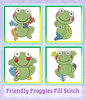 Friendly Froggies Fill Stitch